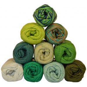 Mayflower Cotton 8/4 Garnpakke 10 farver Grønne nuancer - 10 stk