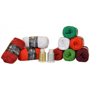 Mayflower Cotton 8/4 Garnpakke Jul 6 farver + 2 Glitter - 11 stk