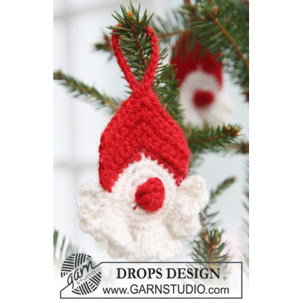 Image of   Red Nose Santa by DROPS Design - Julenisse Hækleopskrift 8 cm