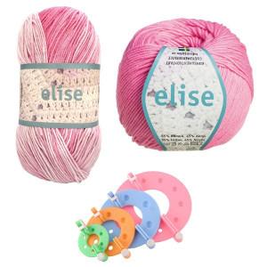 Pompon Maker og Järbo Elise Garn Rosa/Lilla - Pompon Kit