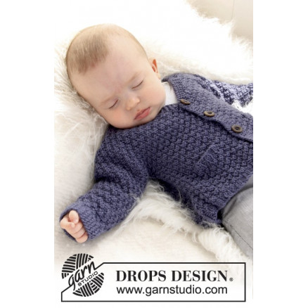 Image of   Checcos Dream by DROPS Design - Baby Jakke Strikkeopskrift str. 1/3 m