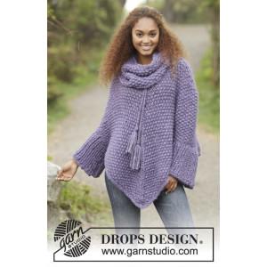 Lavender Grove by DROPS Design - Poncho Strikkeopskrift str S/M - XXXL