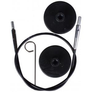 KnitPro Wire / Kabel til Udskiftelige Rundpinde 28cm (Bliver 50cm inkl. pinde) Sort