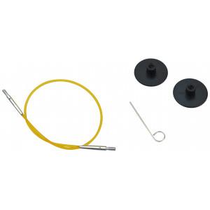 KnitPro Wire / Kabel til Korte Udskiftelige Rundpinde 20cm (Bliver 40cm inkl. pinde) Gul