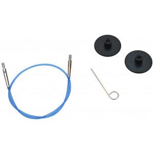 KnitPro Wire / Kabel til Udskiftelige Rundpinde 28cm (Bliver 50cm inkl. pinde) Blå