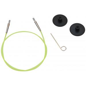 KnitPro Wire / Kabel til Udskiftelige Rundpinde 35cm (Bliver 60cm inkl. pinde) Grøn