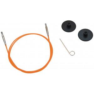 KnitPro Wire / Kabel til Udskiftelige Rundpinde 56cm (Bliver 80cm inkl. pinde) Orange