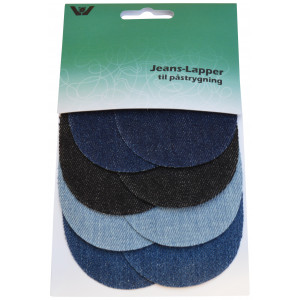 Image of   Strygemærke / Reparationslap Jeans Mini Oval Ass. Blå 7x9,5 cm - 4 par