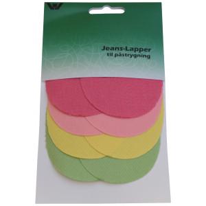 Image of   Strygemærke / Reparationslap Jeans Mini Oval Farver 7x9,5 cm - 4 par