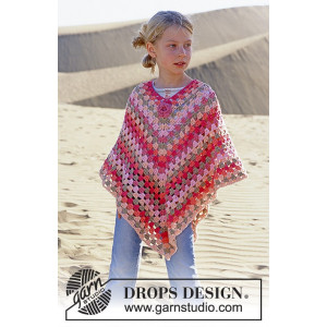 Little Sophie by DROPS Design - Poncho Hækleopskrift str. 5/7 - 12/14 år