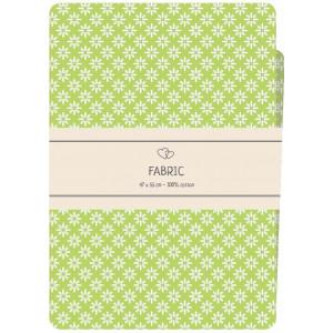 Go handmade Fat quarter / Patchworkstof Bomuld Grøn med hvide blomster - 47x55cm