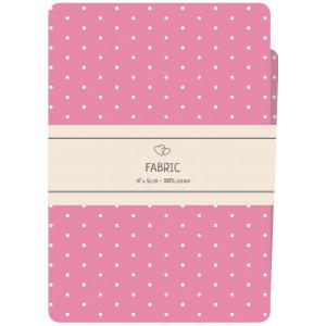 Go handmade Fat quarter / Patchworkstof Bomuld Pink med hvide prikker - 47x55cm