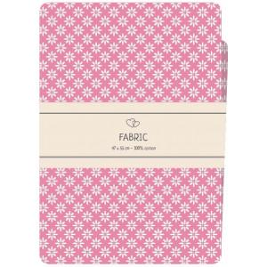 Go handmade Fat quarter / Patchworkstof Bomuld Pink med hvide blomster - 47x55cm