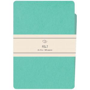 Go handmade Filt / Filtark Polyester Medium Blå / Lys Turkis - 50x70cm