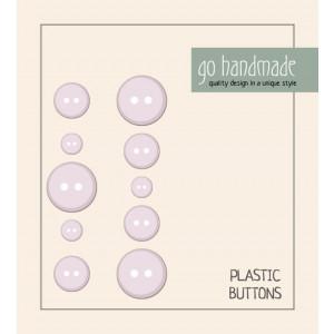 Go handmade Plastik Knapper Str. 9, 11 & 13 mm Beige - 10 stk
