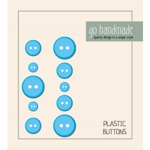 Image of   Go handmade Plastik Knapper Str. 9, 11 & 13mm Blå - 10 stk