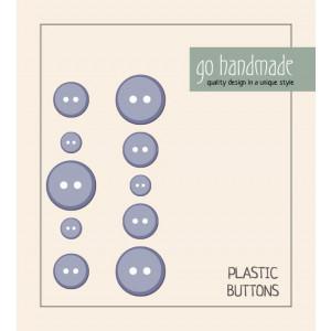 Go handmade Plastik Knapper Str. 9, 11 & 13 mm Grå - 10 stk
