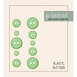 Go handmade Plastik Knapper Str. 9, 11 & 13 mm Grøn - 10 stk