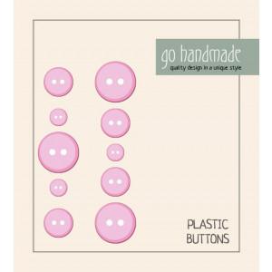 Go handmade Plastik Knapper Str. 9, 11 & 13 mm Pink - 10 stk