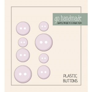 Image of   Go handmade Plastik Knapper Str. 11, 15 & 20mm Beige - 8 stk