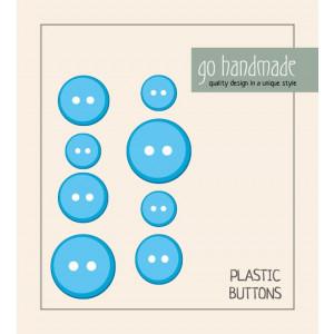 Go handmade Plastik Knapper Str. 11, 15 & 20 mm Blå - 8 stk