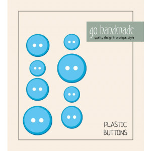 Image of   Go handmade Plastik Knapper Str. 11, 15 & 20mm Blå - 8 stk