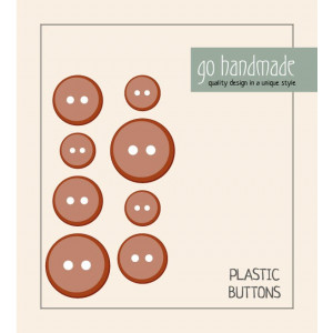 Image of   Go handmade Plastik Knapper Str. 11, 15 & 20mm Brun - 8 stk