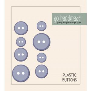 Go handmade Plastik Knapper Str. 11, 15 & 20 mm Grå - 8 stk