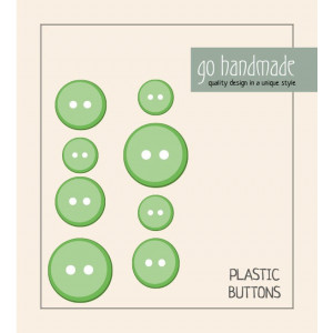 Image of   Go handmade Plastik Knapper Str. 11, 15 & 20mm Grøn - 8 stk