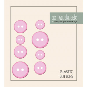Image of   Go handmade Plastik Knapper Str. 11, 15 & 20mm Pink - 8 stk