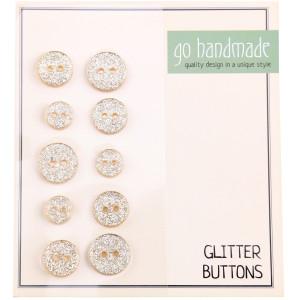 Go handmade Glitter Knapper Str. 9, 11 og 13mm Beige - 10 stk