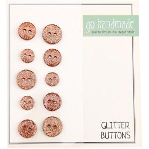 Go handmade Glitter Knapper Str. 9, 11 og 13mm Brun - 10 stk