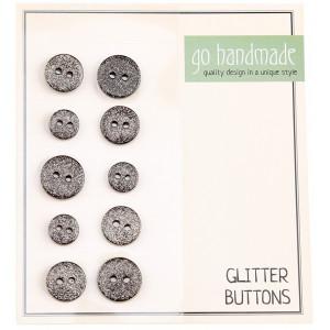 Go handmade Glitter Knapper Str. 9, 11 og 13mm Sort - 10 stk