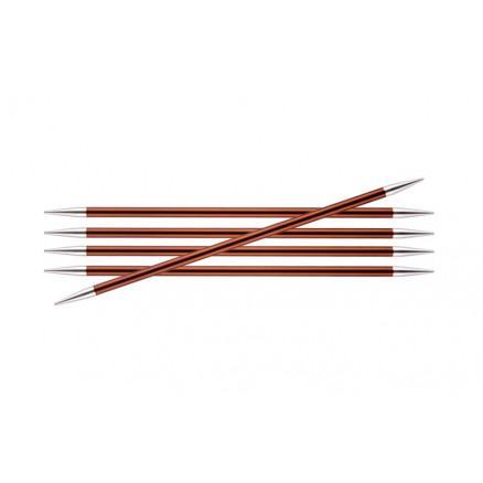 Image of   KnitPro Zing Strømpepinde Aluminium 15cm 5,50mm / 5.9in US9 Sienna