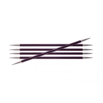 Image of   KnitPro Zing Strømpepinde Aluminium 15cm 6,00mm / 5.9in US10 Purple Ve