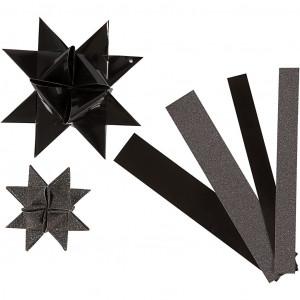 Image of   Vivi Gade Stjernestrimler Sort/Glitter/Lak 44-86cm 15-25mm Diameter 6,