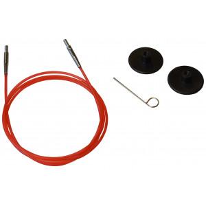KnitPro Wire / Kabel til Udskiftelige Rundpinde 76cm (Bliver 100cm inkl. pinde) Rød