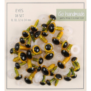 Go Handmade Sikkerhedsøjne / Amigurumi øjne Gul 8-14mm - 18 sæt