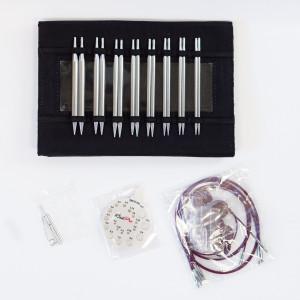 KnitPro Nova Metal Udskiftelige rundpindesæt Messing 60-80-100 cm 3,5-8 cm 8 størrelser Deluxe i Etui
