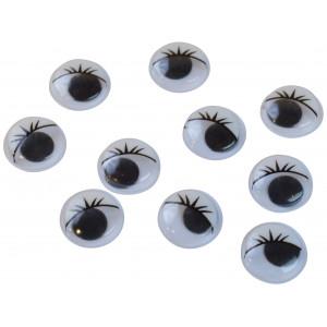 Infinity Hearts Rulleøjne med Øjenbryn til pålimning 15mm - 10 stk