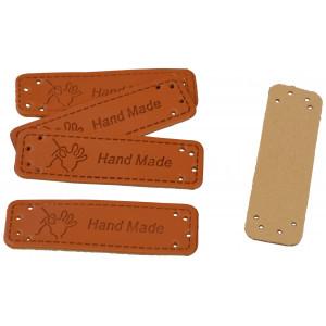 Image of   Infinity Hearts Label Læder Hand Made Hånd 5x1,5cm - 5 stk