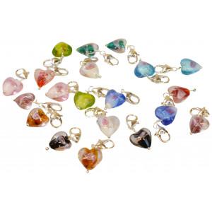 Infinity Hearts Vedhæng Glas Hjerter Ass. farver 29x12mm - 20 stk