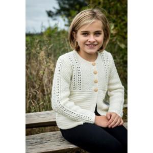 Mayflower Pigetrøje med hulmønster - Cardigan Strikkeopskrift str. 4 år - 12 år