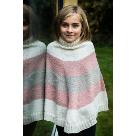 Image of   Mayflower Stribet Poncho - Poncho Strikkeopskrift str. 4 år - 12 år