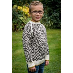 Mayflower Mønstersweater med kontrastkant - Bluse Strikkeopskrift str. 4 år - 12 år