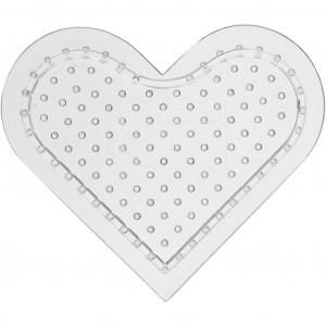 Perleplade Lille Hjerte Transparent 8cm - 10 stk