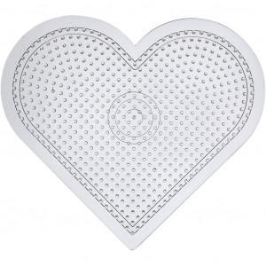 Perleplade Stor Hjerte Transparent 15cm - 10 stk