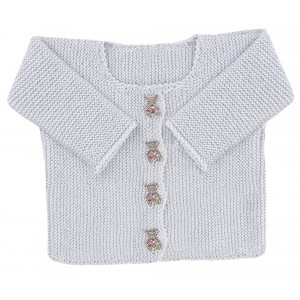 Go handmade Baby Cardigan Lyseblå - Cardigan Strikkekit str. nyfødt - 6 mdr