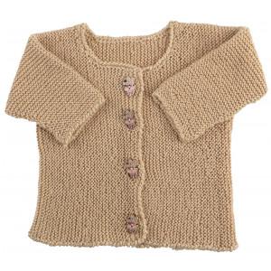 Go handmade Baby Cardigan Valnød - Cardigan Strikkekit str. nyfødt - 6 mdr