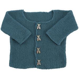 Go handmade Baby Cardigan Petrol - Cardigan Strikkekit str. nyfødt - 6 mdr